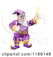 Cartoon Of A Happy Wizard Holding A Wand And A Thumb Up Royalty Free Vector Clipart