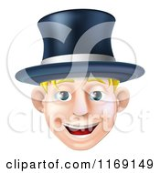 Cartoon Of A Happy Blond Man Wearing A Top Hat And Smiling Royalty Free Vector Clipart