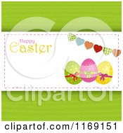 Happy Easter Greeting With Eggs A Heart Bunting And Copyspace On Green