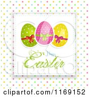 Happy Easter Greeting With Eggs Over Polka Dots