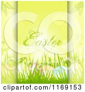 Easter Text Over Eggs In Grass On Green