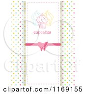 Clipart Of A Cupcake Label Over Colorful Polka Dots And Copyspace Royalty Free Vector Illustration