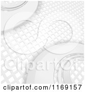 Clipart Of A 3d White Mosaic Grid And Curve Pattern Royalty Free Vector Illustration