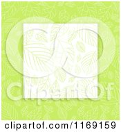 Clipart Of A Pattern Of Leaves On White Over Green Royalty Free Vector Illustration