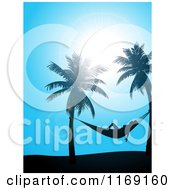 Clipart Of A Sun Shining Down On A Woman In A Hammock Between Palm Trees Over Blue Royalty Free Vector Illustration by elaineitalia