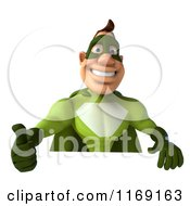 Clipart Of A 3d Super Hero Man In A Green Costume Holding A Thumb Up Over A Sign Royalty Free CGI Illustration