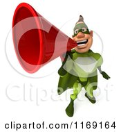 Clipart Of A 3d Super Hero Man In A Green Costume Using A Megaphone Royalty Free CGI Illustration