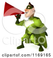 Clipart Of A 3d Super Hero Man In A Green Costume Using A Megaphone 2 Royalty Free CGI Illustration