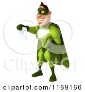 Clipart Of A 3d Super Hero Man In A Green Costume Holding Out An Envelope 2 Royalty Free CGI Illustration