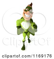 Clipart Of A 3d Super Hero Man In A Green Costume Pointing Outwards Royalty Free CGI Illustration