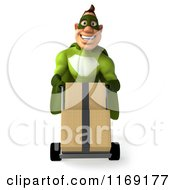 Clipart Of A 3d Super Hero Man In A Green Costume Pushing Boxes On A Dolly Royalty Free CGI Illustration