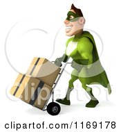 Clipart Of A 3d Super Hero Man In A Green Costume Pushing Boxes On A Dolly 2 Royalty Free CGI Illustration