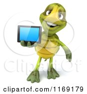 Clipart Of A 3d Tortoise Holding Out A Smart Phone 2 Royalty Free CGI Illustration