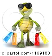 Clipart Of A 3d Tortoise Wearing Sunglasses And Carrying Shopping Bags Royalty Free CGI Illustration