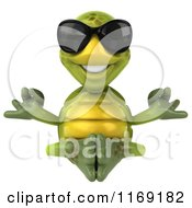 Clipart Of A 3d Happy Tortoise Wearing Sunglasses And Meditating Royalty Free CGI Illustration