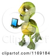 Clipart Of A 3d Tortoise Holding Out A Smart Phone 3 Royalty Free CGI Illustration