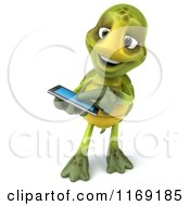 Clipart Of A 3d Tortoise Using A Smart Phone Royalty Free CGI Illustration
