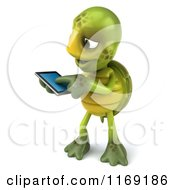 Clipart Of A 3d Tortoise Using A Smart Phone 2 Royalty Free CGI Illustration