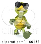 Clipart Of A 3d Tortoise Wearing Sunglasses And Running Royalty Free CGI Illustration