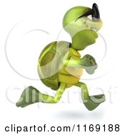 Clipart Of A 3d Tortoise Wearing Sunglasses And Running 2 Royalty Free CGI Illustration