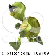 Clipart Of A 3d Tortoise Wearing Sunglasses And Running 3 Royalty Free CGI Illustration