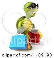 Clipart Of A 3d Tortoise Wearing Sunglasses And Carrying Shopping Bags 2 Royalty Free CGI Illustration