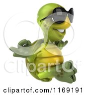 Clipart Of A 3d Happy Tortoise Wearing Sunglasses And Meditating 2 Royalty Free CGI Illustration