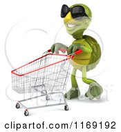 Clipart Of A 3d Tortoise Wearing Sunglasses And Pushing A Shopping Cart Royalty Free CGI Illustration