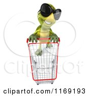 Clipart Of A 3d Tortoise Wearing Sunglasses And Pushing A Shopping Cart 2 Royalty Free CGI Illustration