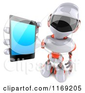 Clipart Of A 3d White And Orange Male Techno Robot Holding Out A Tablet Royalty Free CGI Illustration