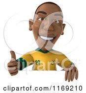 Clipart Of A 3d Brazilian Soccer Player Holding A Thumb Up Over A Sign Royalty Free CGI Illustration