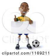 Clipart Of A 3d Brazilian Soccer Player Holding A Thumb Up Over A Sign And Ball Royalty Free CGI Illustration