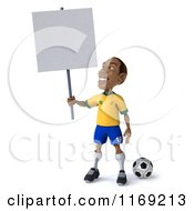 Clipart Of A 3d Brazilian Soccer Player Looking Up At A Sign Royalty Free CGI Illustration