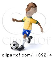 Clipart Of A 3d Brazilian Soccer Player In Action Royalty Free CGI Illustration