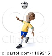 Clipart Of A 3d Brazilian Soccer Player In Action 2 Royalty Free CGI Illustration