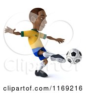 Clipart Of A 3d Brazilian Soccer Player In Action 3 Royalty Free CGI Illustration