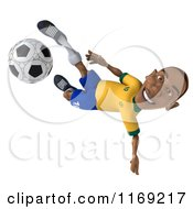 Clipart Of A 3d Brazilian Soccer Player In Action 4 Royalty Free CGI Illustration