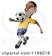 Clipart Of A 3d Brazilian Soccer Player In Action 5 Royalty Free CGI Illustration