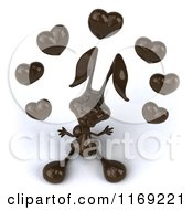 Clipart Of A 3d Dark Chocolate Easter Bunny Juggling Hearts Royalty Free CGI Illustration