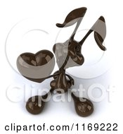 Clipart Of A 3d Dark Chocolate Easter Bunny Holding A Heart Royalty Free CGI Illustration by Julos