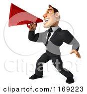 Clipart Of A 3d Macho Businessman Using A Megaphone 2 Royalty Free CGI Illustration