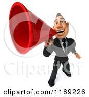 Clipart Of A 3d Macho Businessman Using A Megaphone Royalty Free CGI Illustration