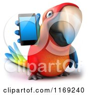 3d Macaw Parrot Holding Out A Cell Phone