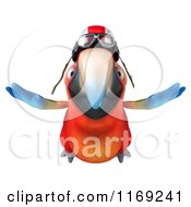 3d Macaw Parrot Flying With An Aviator Helmet