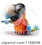 Clipart Of A 3d Macaw Parrot Wearing Sunglasses And Pointing Royalty Free CGI Illustration