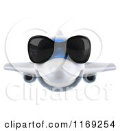Clipart Of A 3d Airplane Mascot Wearing Sunglasses Royalty Free CGI Illustration