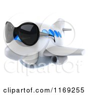 Clipart Of A 3d Airplane Mascot Wearing Sunglasses 2 Royalty Free CGI Illustration