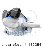 Clipart Of A 3d Airplane Mascot Wearing Sunglasses 3 Royalty Free CGI Illustration