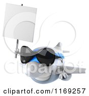 Clipart Of A 3d Airplane Mascot Wearing Sunglasses And Holding A Sign Royalty Free CGI Illustration