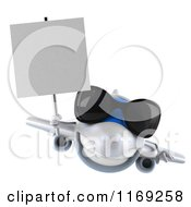 Clipart Of A 3d Airplane Mascot Wearing Sunglasses And Holding A Sign 2 Royalty Free CGI Illustration